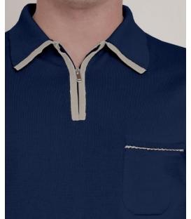 DANIELE FIESOLI Polo Zip manica vintage, rasato, cotone ultrasoft, tinto filo 0345 BLU
