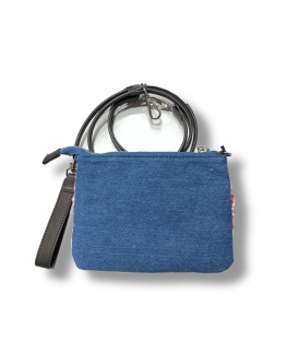 MC2 SAINT BARTH Pochette Ribbon in denim con logo e tracolla inclusa in pelle.