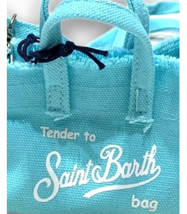 MC2 SAINT BARTH BORSA PORTACHIAVI IN CANVAS CELESTE CON TRACOLLA